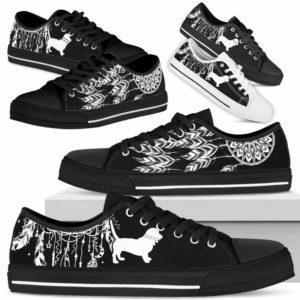 LTS-U-Dog-DreamcatcherW-Basset_Hound-1@ Dreamcatcher White Basset Hound 1-Basset Hound Dog Lovers Low Top Shoes Gift Men Women Dog Mom Dog Dad. Dreamcatcher Custom Shoes.