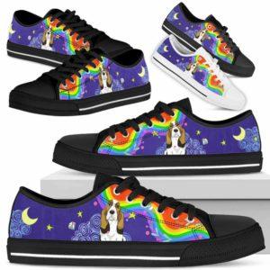 LTS-U-Dog-Rainbow-Basset_Hound-3@ Rainbow Basset Hound 3-Basset Hound Dog Lovers Low Top Shoes Gift For Men Women Dog Owners. Rainbow Colorful Custom Shoes.