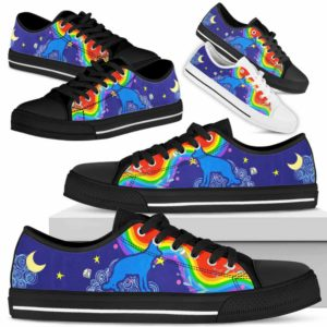 LTS-U-Dog-RainbowSil-German_shepherd-12@ Rainbow Silhouette German shepherd 12-German Shepherd Dog Lovers Low Top Shoes Gift For Men Women Dog Owners. Colorful Rainbow Custom Shoes.