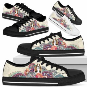 LTS-U-Dog-RedMandala-Basset_Hound-3@ Red Mandala Basset Hound 3-Basset Hound Dog Lovers Low Top Shoes For Men Women Dog Owners. Mandala Flower Custom Shoes Gift.