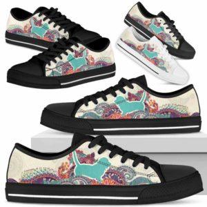 LTS-U-Dog-RedMandalaSil-Basset_Hound-1@ Red Mandala Silhouette Basset Hound 1-Basset Hound Dog Lovers Low Top Shoes For Men Women Dog Owners. Flower Mandala Custom Shoes Gift.