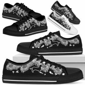 LTS-U-Dog-WhiteFeather-Dachshund-9@ White Feather Dachshund 9-Dachshund Dog Lovers Low Top Shoes Gift Women Men. Dog Mom Dog Dad Feather Custom Shoes.