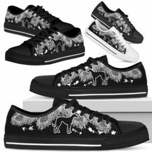 LTS-U-Dog-WhiteFeather-Greyhound-13@ White Feather Greyhound 13-Greyhound Dog Lovers Low Top Shoes Gift Women Men. Dog Mom Dog Dad Feather Custom Shoes.