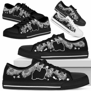 LTS-U-Dog-WhiteFeather-Havanese-14@ White Feather Havanese 14-Havanese Dog Lovers Low Top Shoes Gift Women Men. Dog Mom Dog Dad Feather Custom Shoes.