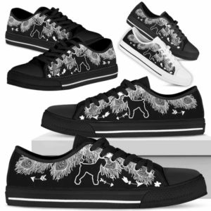 LTS-U-Dog-WhiteFeather-Schnauzer-21@ White Feather Schnauzer 21-Schnauzer Dog Lovers Low Top Shoes Gift Women Men. Dog Mom Dog Dad Feather Custom Shoes.