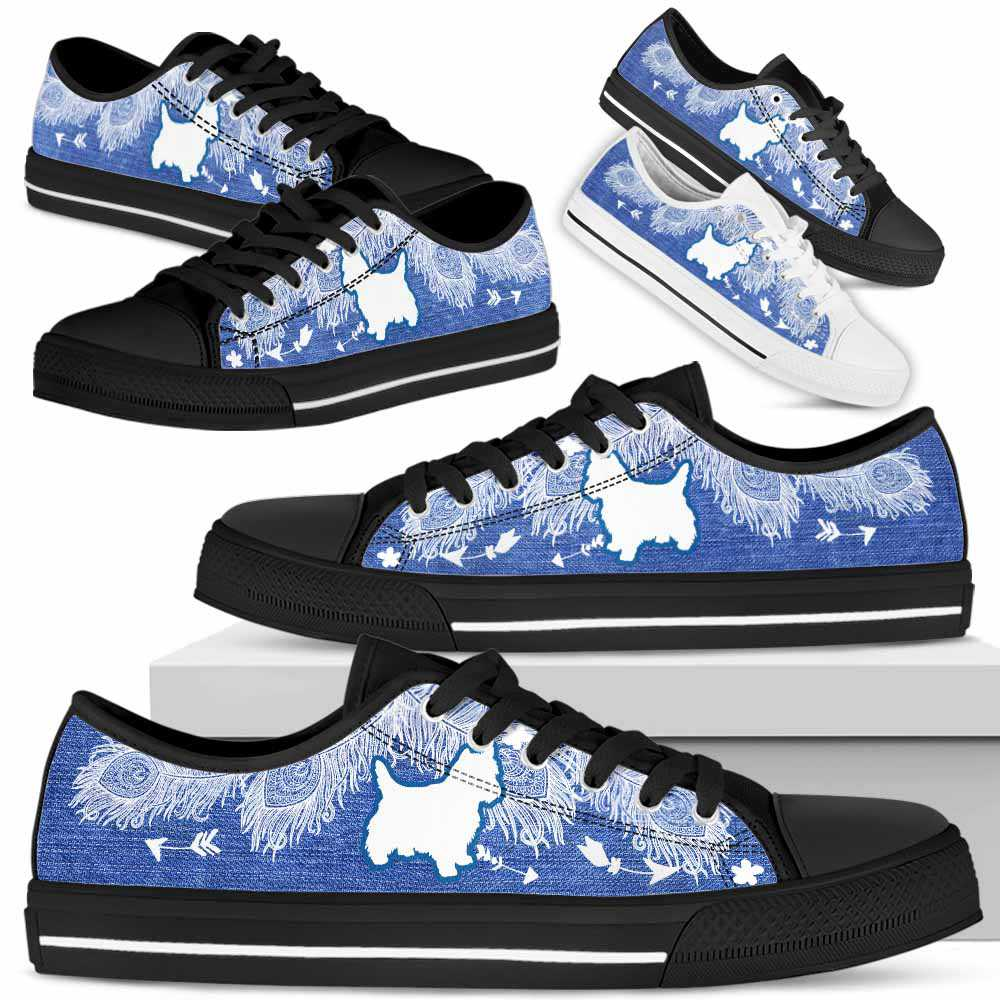 LTS-U-Dog-WhiteFeatherJean-Westie-24@ White Jean Westie 24-Westie Pumpkin Dog Lovers Low Top Shoes Gift Women Men. Dog Mom Dog Dad Feather Custom Shoes. West Highland Terrier