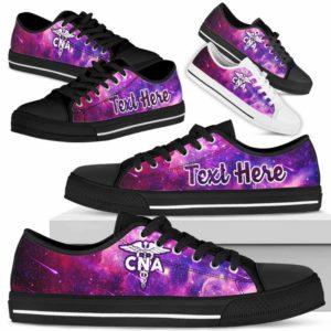 LTS-U-Nurse-Galaxy-CNA-0@ Nurse Galaxy CNA 0-Cna Nursing Assistant Low Top Shoes Purple Galaxy Gift Women Men. Custom Shoes.