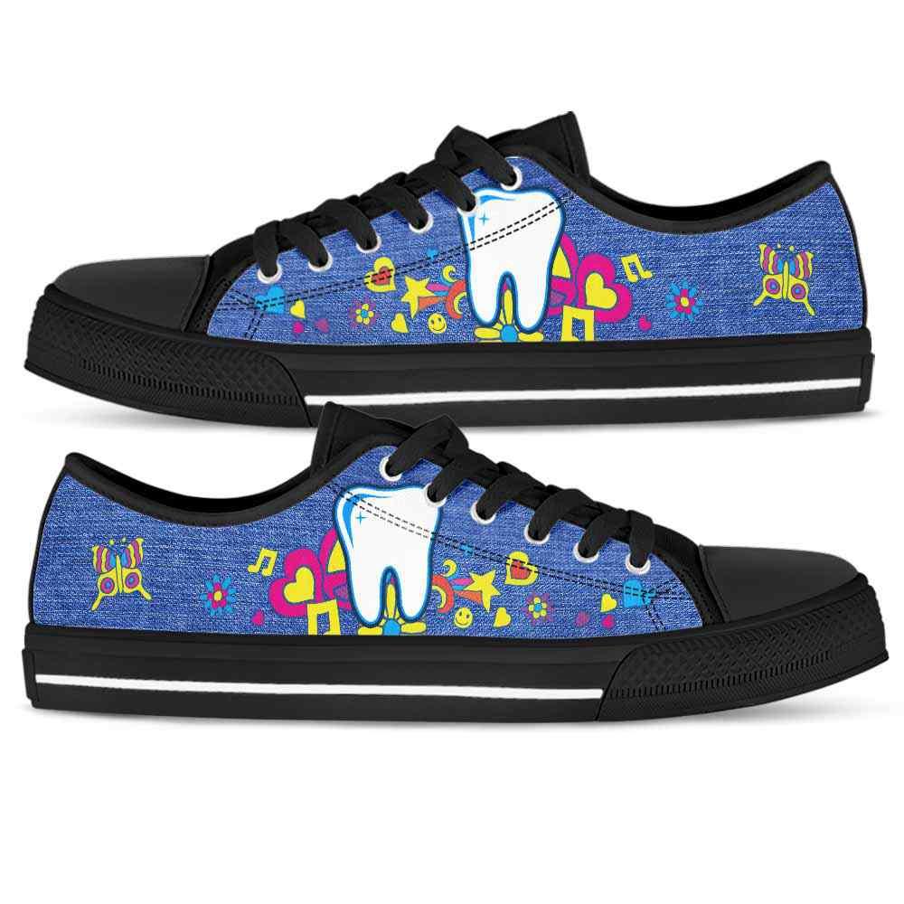 LTS-U-Nurse-HippieJean-Dentist-3@ Hippie Jean Dentist 3-Dentist Low Top Shoes Gift For Women Men. Hippie Colorful Custom Shoes.