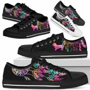 LTS-W-Dog-ColorfulDreamcatcher-Basset_Hound-1@ Colorful Dreamcatcher Basset Hound 1-Basset Hound Dog Lovers Dreamcatcher Low Top Shoes Gift Men Women. Dog Mom Dog Dad Custom Shoes.
