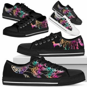 LTS-W-Dog-ColorfulDreamcatcher-Dachshund-9@ Colorful Dreamcatcher Dachshund 9-Dachshund Dog Lovers Dreamcatcher Low Top Shoes Gift Men Women. Dog Mom Dog Dad Custom Shoes.