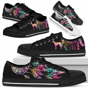 LTS-W-Dog-ColorfulDreamcatcher-Greyhound-13@ Colorful Dreamcatcher Greyhound 13-Greyhound Dog Lovers Dreamcatcher Low Top Shoes Gift Men Women. Dog Mom Dog Dad Custom Shoes.