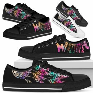 LTS-W-Dog-ColorfulDreamcatcher-Shiba_inu-22@ Colorful Dreamcatcher Shiba inu 22-Shiba Inu Dog Lovers Dreamcatcher Low Top Shoes Gift Men Women. Dog Mom Dog Dad Custom Shoes.