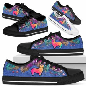 LTS-W-Dog-ColorfulFeather-Corgi-8@ Colorful Feather Corgi 8-Corgi Dog Lovers Low Top Shoes Gift Women Men. Colorful Feather Custom Shoes.