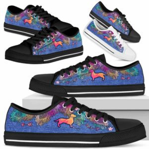 LTS-W-Dog-ColorfulFeather-Dachshund-9@ Colorful Feather Dachshund 9-Dachshund Dog Lovers Low Top Shoes Gift Women Men. Colorful Feather Custom Shoes.