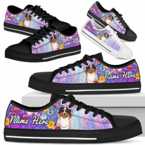 LTS-W-Dog-ColorfulFlower-Aussie-1@ Colorful Flower Aussie 1-Aussie Dog Lovers Low Top Shoes Gift Women Men. Colorful Floral Flower Custom Shoes. Australian Shepherd