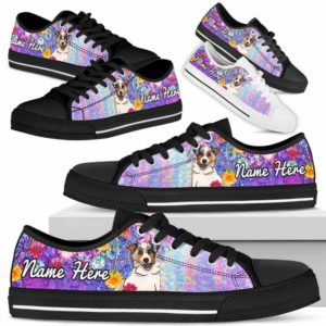 LTS-W-Dog-ColorfulFlower-Aussie-2@ Colorful Flower Aussie 2-Aussie Dog Lovers Low Top Shoes Gift Women Men. Colorful Floral Flower Custom Shoes. Australian Shepherd