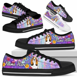 LTS-W-Dog-ColorfulFlower-Basset_Hound-3@ Colorful Flower Basset Hound 3-Basset Hound Dog Lovers Low Top Shoes Gift Women Men. Colorful Floral Flower Custom Shoes.