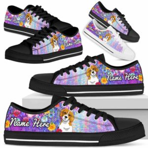 LTS-W-Dog-ColorfulFlower-Beagle-4@ Colorful Flower Beagle 4-Beagle Dog Lovers Low Top Shoes Gift Women Men. Colorful Floral Flower Custom Shoes.