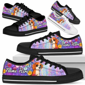 LTS-W-Dog-ColorfulFlower-Beagle-5@ Colorful Flower Beagle 5-Beagle Dog Lovers Low Top Shoes Gift Women Men. Colorful Floral Flower Custom Shoes.
