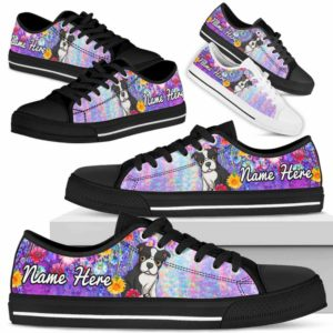 LTS-W-Dog-ColorfulFlower-Boston_Terrier-6@ Colorful Flower Boston Terrier 6-Boston Terrier Dog Lovers Low Top Shoes Gift Women Men. Colorful Floral Flower Custom Shoes.