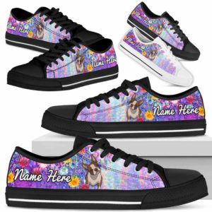 LTS-W-Dog-ColorfulFlower-Boston_Terrier-7@ Colorful Flower Boston Terrier 7-Boston Terrier Dog Lovers Low Top Shoes Gift Women Men. Colorful Floral Flower Custom Shoes.