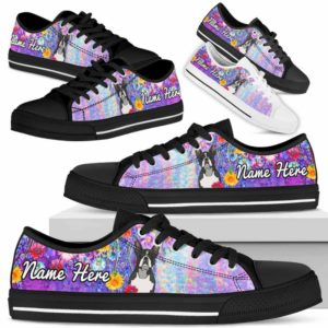 LTS-W-Dog-ColorfulFlower-Boston_Terrier-8@ Colorful Flower Boston Terrier 8-Boston Terrier Dog Lovers Low Top Shoes Gift Women Men. Colorful Floral Flower Custom Shoes.