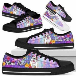 LTS-W-Dog-ColorfulFlower-Bulldog-12@ Colorful Flower Bulldog 12-Bulldog Dog Lovers Low Top Shoes Gift Women Men. Colorful Floral Flower Custom Shoes.