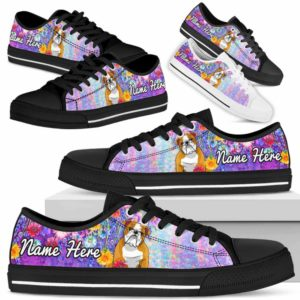 LTS-W-Dog-ColorfulFlower-Bulldog-13@ Colorful Flower Bulldog 13-Bulldog Dog Lovers Low Top Shoes Gift Women Men. Colorful Floral Flower Custom Shoes.