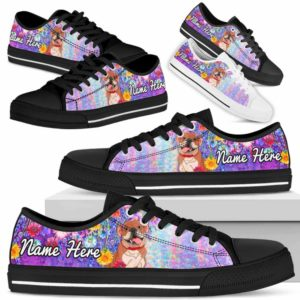 LTS-W-Dog-ColorfulFlower-Bulldog-14@ Colorful Flower Bulldog 14-Bulldog Dog Lovers Low Top Shoes Gift Women Men. Colorful Floral Flower Custom Shoes.