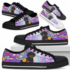 LTS-W-Dog-ColorfulFlower-Dachshund-19@ Colorful Flower Dachshund 19-Dachshund Dog Lovers Low Top Shoes Gift Women Men. Colorful Floral Flower Custom Shoes.