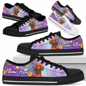 LTS-W-Dog-ColorfulFlower-Dachshund-20@ Colorful Flower Dachshund 20-Dachshund Dog Lovers Low Top Shoes Gift Women Men. Colorful Floral Flower Custom Shoes.
