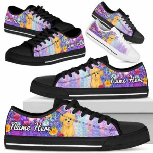 LTS-W-Dog-ColorfulFlower-Havanese-33@ Colorful Flower Havanese 33-Havanese Dog Lovers Low Top Shoes Gift Women Men. Colorful Floral Flower Custom Shoes.