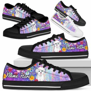 LTS-W-Dog-ColorfulFlower-Havanese-34@ Colorful Flower Havanese 34-Havanese Dog Lovers Low Top Shoes Gift Women Men. Colorful Floral Flower Custom Shoes.