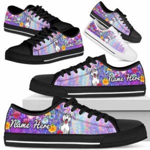 LTS-W-Dog-ColorfulFlower-Husky-36@ Colorful Flower Husky 36-Husky Dog Lovers Low Top Shoes Gift Women Men. Colorful Floral Flower Custom Shoes.