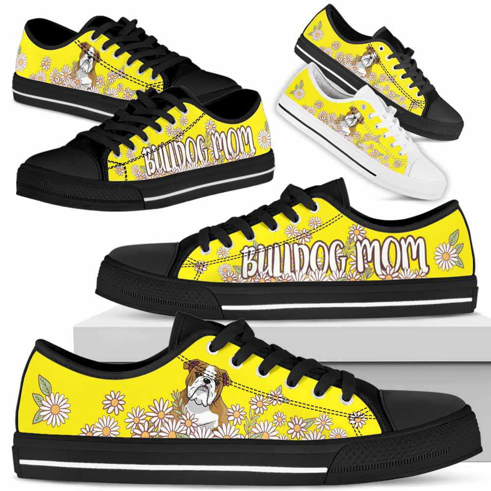 LTS-W-Dog-DaisyBot-Bulldog-13@ Daisy Bot Dog Mom Bulldog 13-Daisy Field Bulldog Mom Dog Lovers Low Top Shoes Gift Women. Dog Mom Custom Shoes.