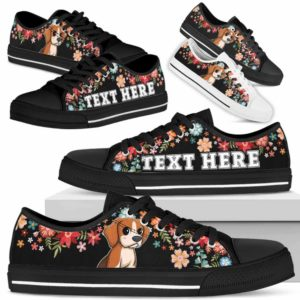 LTS-W-Dog-Embroidery3-Beagle-5@undefined-Beagle Colorful Flower Dog Lovers Tennis Shoes Gym Low Top Shoes Gift Men Women. Dog Mom Dog Dad Custom Shoes.