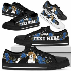LTS-W-Dog-Embroidery7-Beagle-4@undefined-Beagle Dog Lovers Blue Rose Tennis Shoes Gym Low Top Shoes Gift Men Women. Dog Mom Dog Dad Custom Shoes.