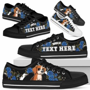 LTS-W-Dog-Embroidery7-Beagle-5@undefined-Beagle Dog Lovers Blue Rose Tennis Shoes Gym Low Top Shoes Gift Men Women. Dog Mom Dog Dad Custom Shoes.