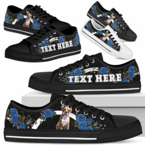 LTS-W-Dog-Embroidery7-Boxer-9@undefined-Boxer Dog Lovers Blue Rose Tennis Shoes Gym Low Top Shoes Gift Men Women. Dog Mom Dog Dad Custom Shoes.