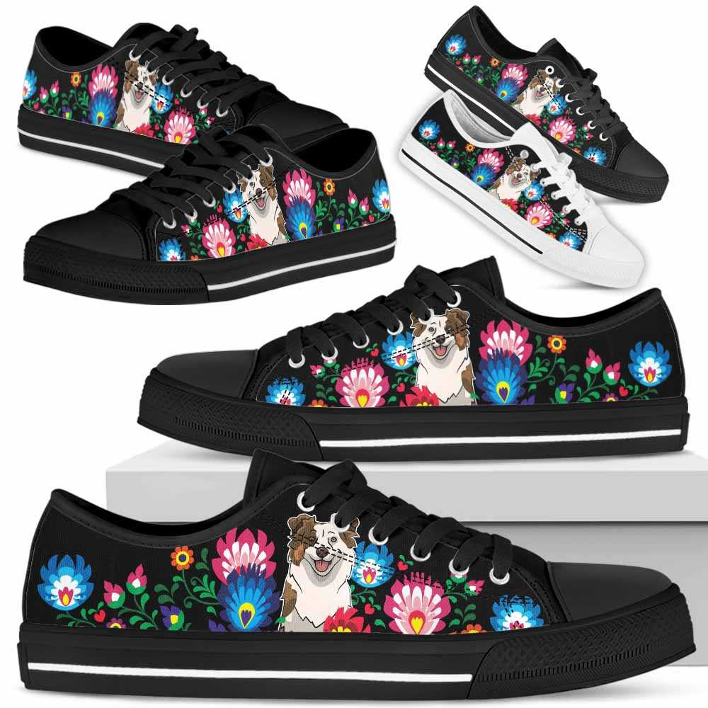 LTS-W-Dog-Embroidery9-Aussie-0@undefined-Aussie Dog Lovers Tennis Shoes Gym Flower Colorful Low Top Shoes Gift Men Women. Dog Mom Dog Dad Custom Shoes. Australian Shepherd