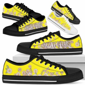 LTS-W-Nurse-DaisyBot-Massage_Therapist-9@ Daisy Bot Massage Therapist 9-Massage Therapist Daisy Flower Low Top Shoes For Women Men. Yellow Custom Shoes Gift.