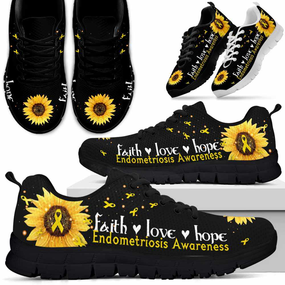 SS-U-Awareness-FaithHopeLope-Endometriosis-21@ Faith Hope Love Sunflower Endometriosis 21-Endometriosis Awareness Faith Hope Love Ribbon Sneakers Running Shoes. Fighter Survivor Gift.