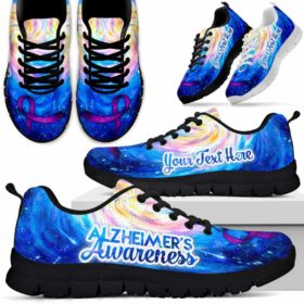 Alzheimer'S Awareness Ribbon Galaxy Sneakers Running Shoes. Fighter Survivor Gift.