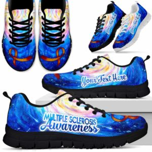 SS-U-Awareness-RibbonGalaxyBG-Multiple_Sclerosis-30@ Ribbon Galaxy BG Multiple Sclerosis 30-Multiple Sclerosis Awareness Ribbon Galaxy Sneakers Running Shoes. Fighter Survivor Gift.