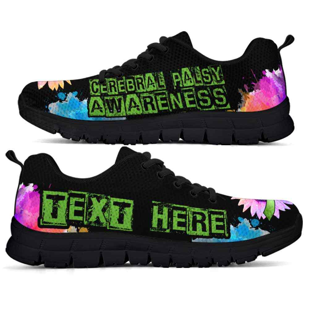SS-U-Awareness-WatercolorSunflowerText-CerPal-11@undefined-Cerebral Palsy Awareness Ribbon Watercolor Sunflower Sneakers Gym Running Shoes. Faith Hope Love Fighter Survivor Gift.
