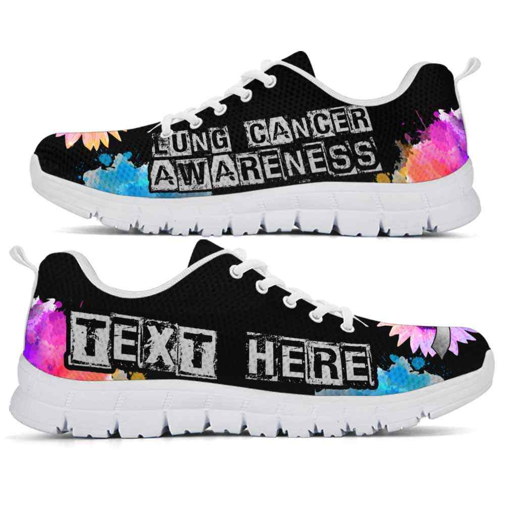 SS-U-Awareness-WatercolorSunflowerText-LunCan-25@undefined-Lung Cancer Awareness Ribbon Watercolor Sunflower Sneakers Gym Running Shoes. Faith Hope Love Fighter Survivor Gift.