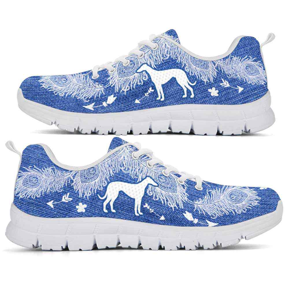 SS-U-Dog-FeatherWJean-Greyhound-13@ Feather W Jean Greyhound 13-Greyhound Dog Lovers Sneakers Running Shoes Gift Women Men. Feather Dog Mom Dog Dad Custom Shoes.