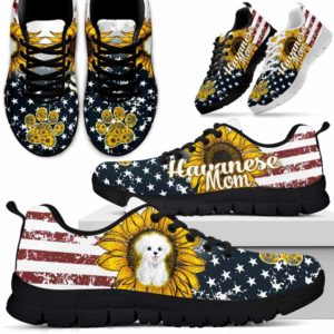 SS-U-Dog-FlagSunflower-Havanese-34@ Flag Sunflower Havanese 34-Havanese Mom Dog Lovers Sneakers Running Shoes Gift For Men Women. Sunflower Usa Flag Custom Shoes.