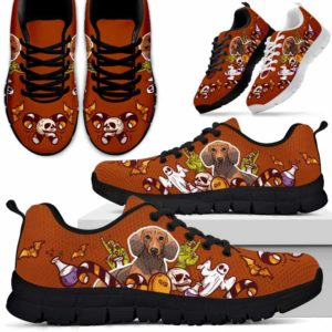 SS-U-Dog-HalloweenMaterialBot-Dachshund-20@ Halloween Material Bot Dachshund 20-Dachshund Halloween Dog Lovers Sneakers Running Shoes Gift Women Men. Spooky Custom Shoes.