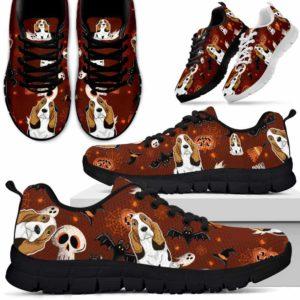SS-U-Dog-HalloweenPattern3-Basset_Hound-3@ Halloween Pattern 3 Basset Hound 3-Spooky Basset Hound Halloween Dog Lovers Sneakers Running Shoes Gift Women Men. Custom Shoes.